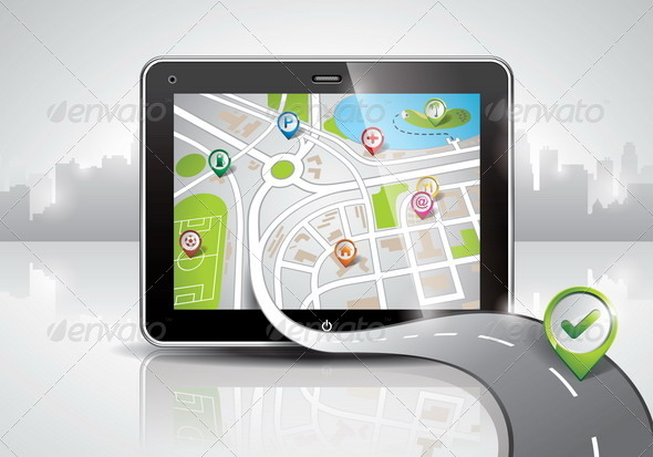 Map Illustration with Shiny PDA Device - Communications Technology
