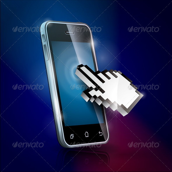 Illustration with Shiny Touchscreen Phone - Communications Technology