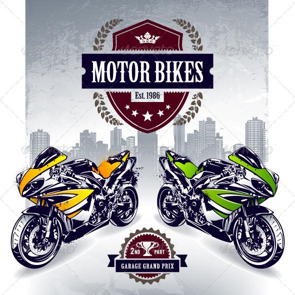 Two Sport Motorbikes - Vectors