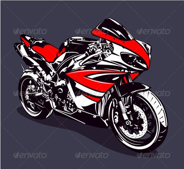 Red Sport Motorbike - Vectors