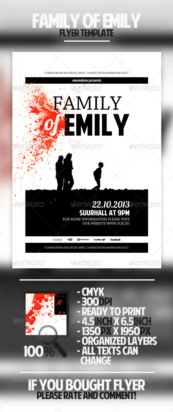 Family of Emily Flyer Template - Miscellaneous Events