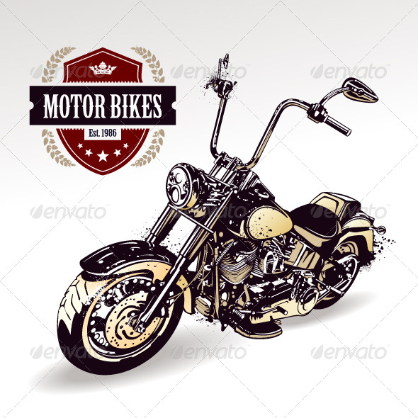 Chopper Customized Motorcycle - Vectors