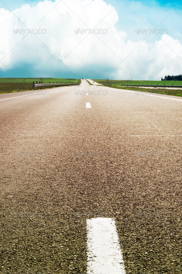 road over blue sky - Stock Photo - Images