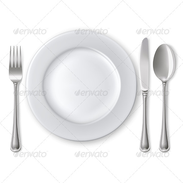 Plate with Spoon, Knife and Fork - Man-made Objects Objects