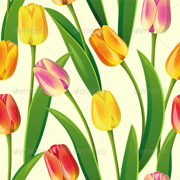 Seamless from Tulips - Patterns Decorative