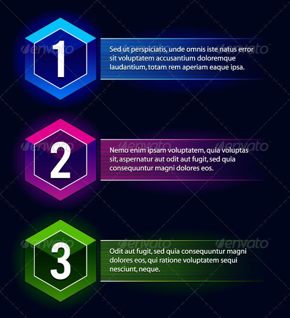 Neon Number Options Banners - Vectors