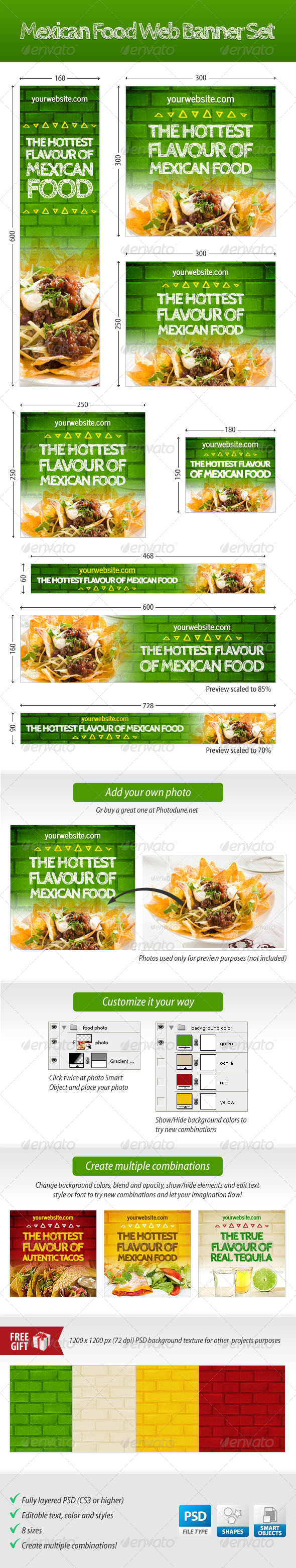 Mexican Food Web Banner Set - Banners & Ads Web Elements