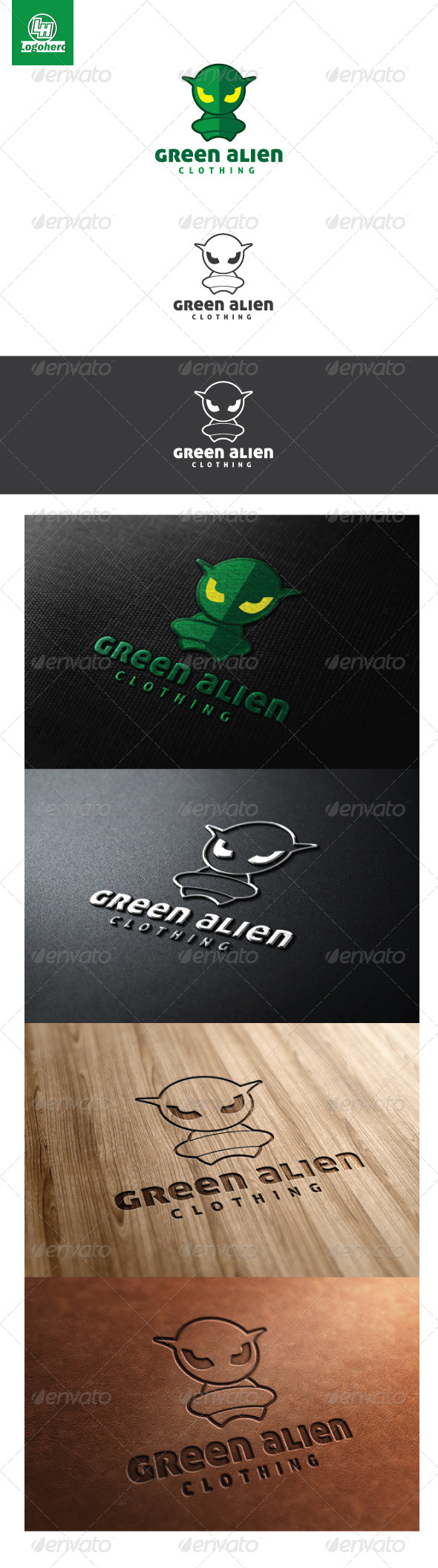 Green Alien Logo Template - Humans Logo Templates