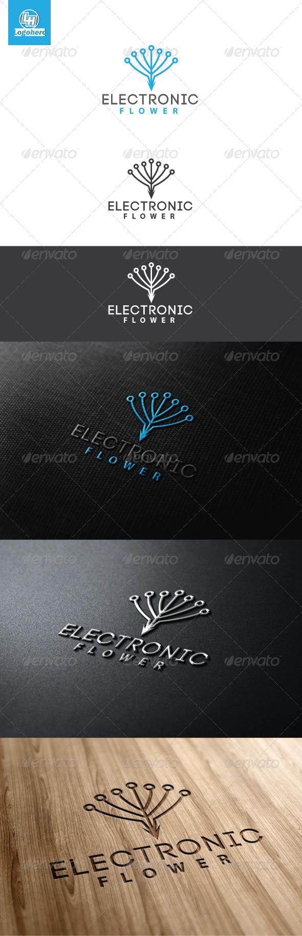 Electronic Flower Logo Template - Symbols Logo Templates