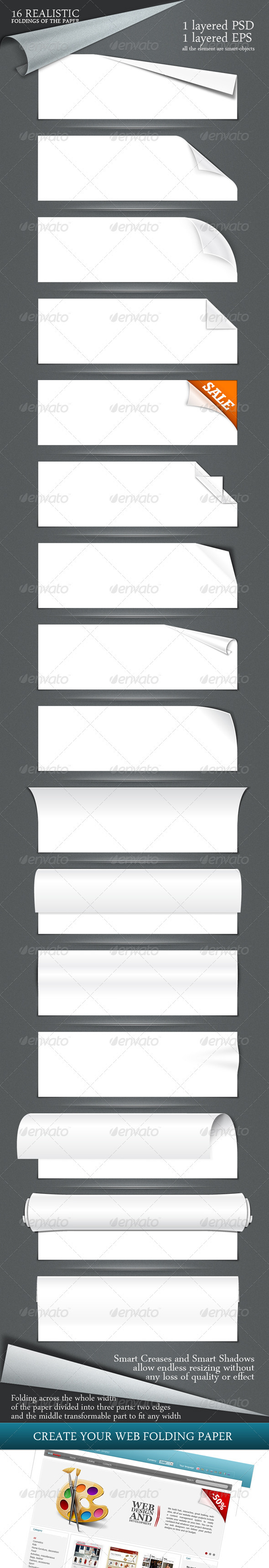16 realistic folding of the paper PSD + EPS - Miscellaneous Web Elements