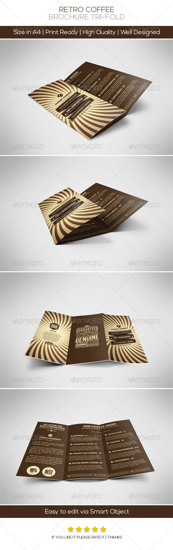 Retro Coffee Brochure Tri-fold - Brochures Print Templates