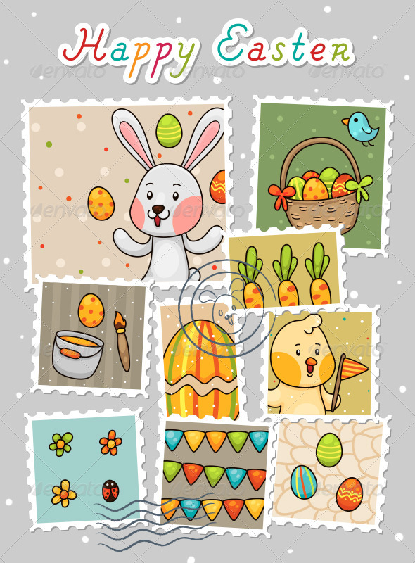 Easter Stamps - Seasons/Holidays Conceptual