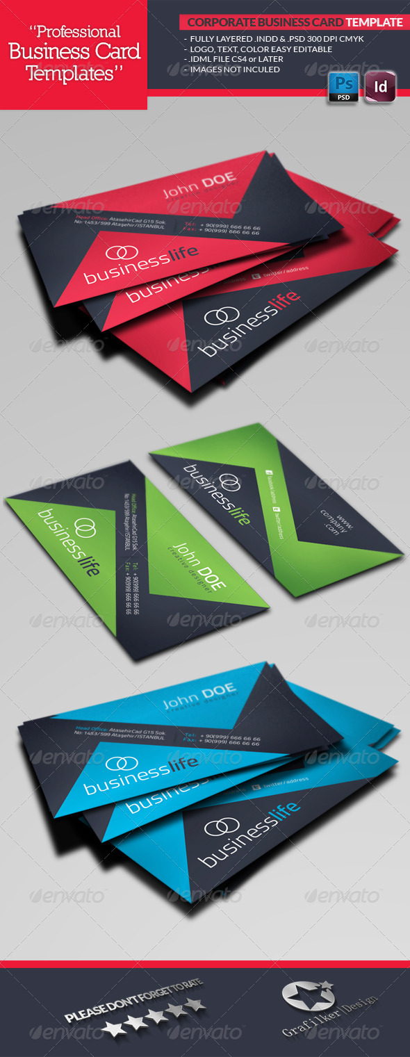 Corporate business card template by grafilker graphicriver corporate business card template corporate business cards reheart Image collections
