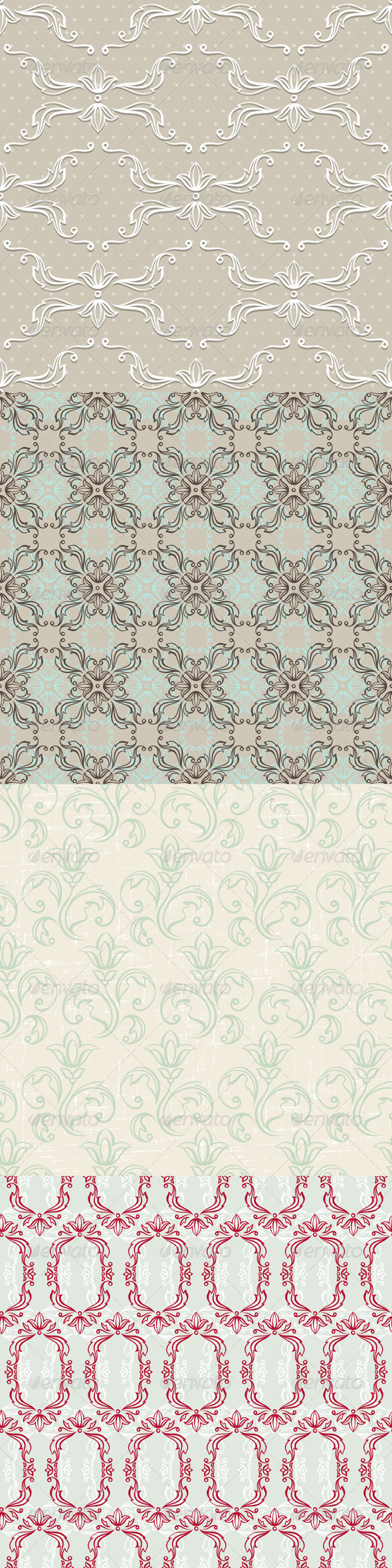 Seamless Vintage Wallpapers, Floral Patterns. - Patterns Decorative