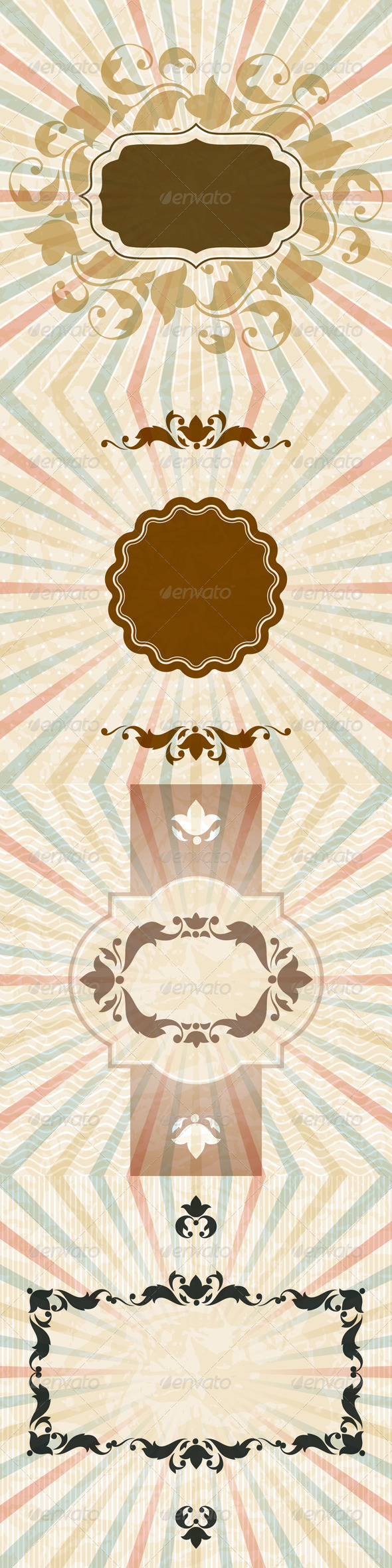 Retro Backgrounds with Vintage Floral Frame. - Retro Technology
