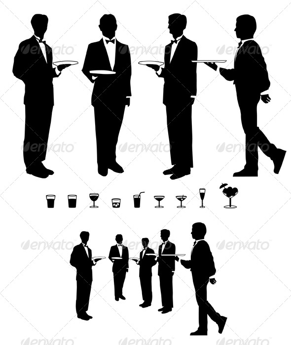 Graphic Waiter and Drinks - Food Objects