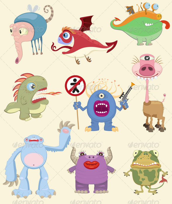 Cartoon Monsters Collection - Monsters Characters