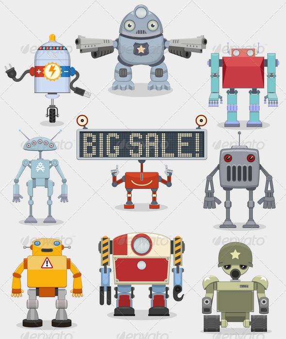 Cartoon Robots Collection - Characters Vectors