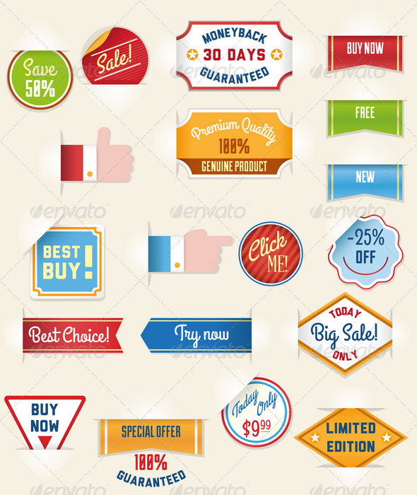 Set of Retro Sale Stickers and Tags - Commercial / Shopping Conceptual