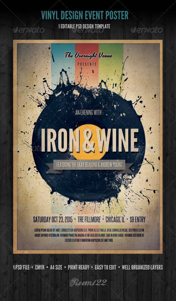 Vinyl Event Flyer Poster Template By Graphicmonkee