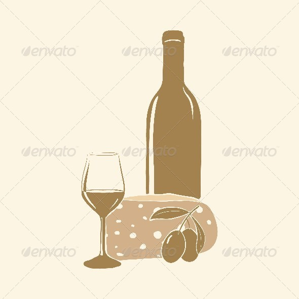 Wine, Cheese, Olives and Glass - Food Objects