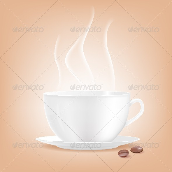 Smoking Coffee Cup with Two Grains of Coffee. - Food Objects