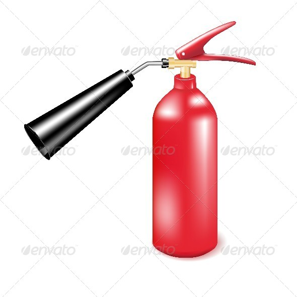 Red Metal Fire Extinguisher.  - Man-made Objects Objects