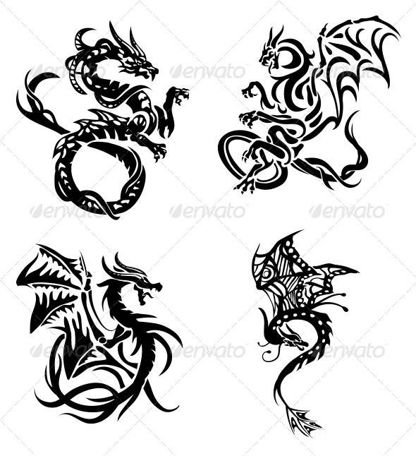 Tribal Dragons 4 Pack - Tattoos Vectors