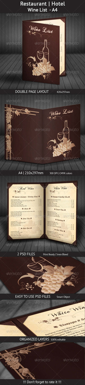 Restaurant | Hotel Wine List - A4 - Restaurant Flyers