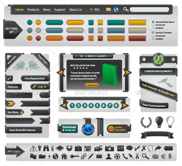 Website Design Elements - Carbon - Web Elements Vectors