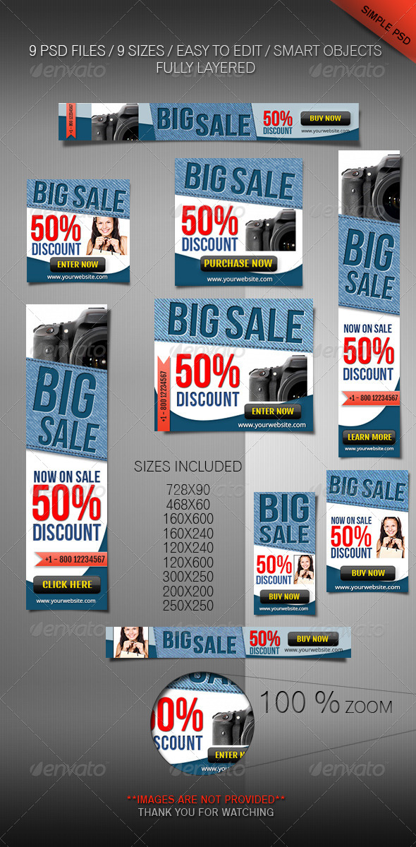 Web Banner Set Product Or Software Marketing - Banners & Ads Web Elements