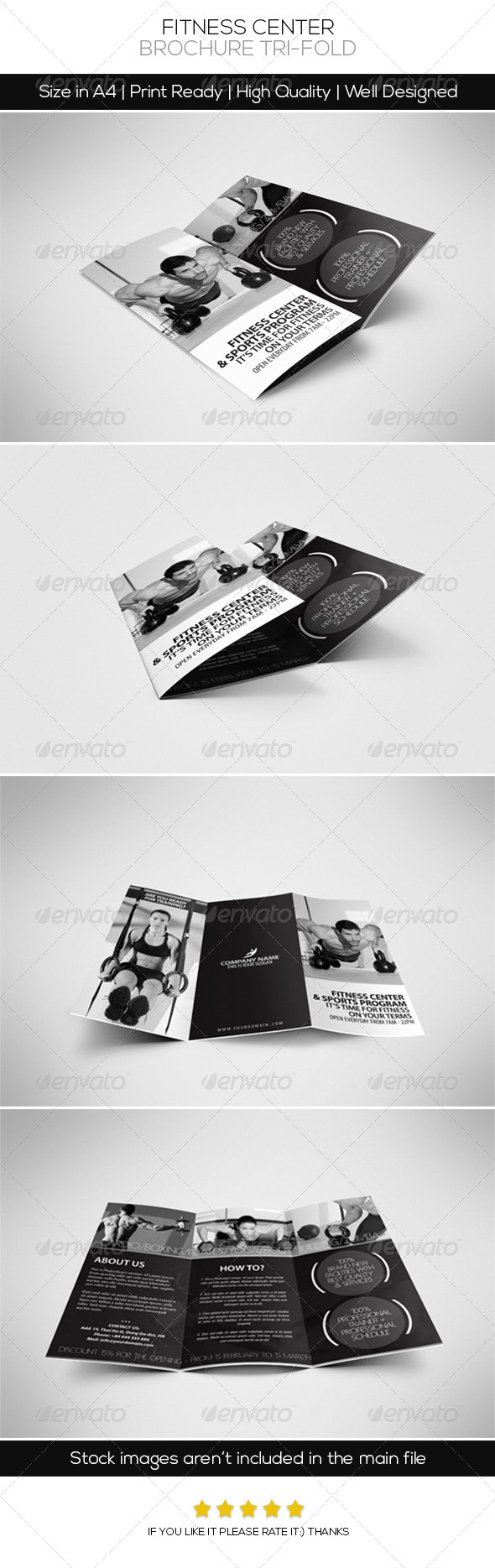 Fitness Center Brochure Tri-fold - Brochures Print Templates
