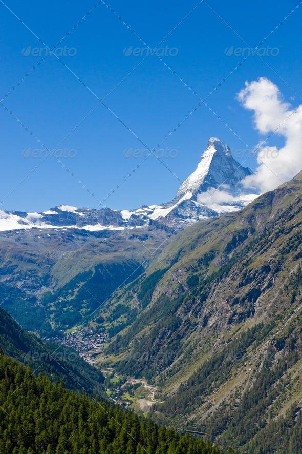 The Zermatt valley in Switzerland  - Stock Photo - Images