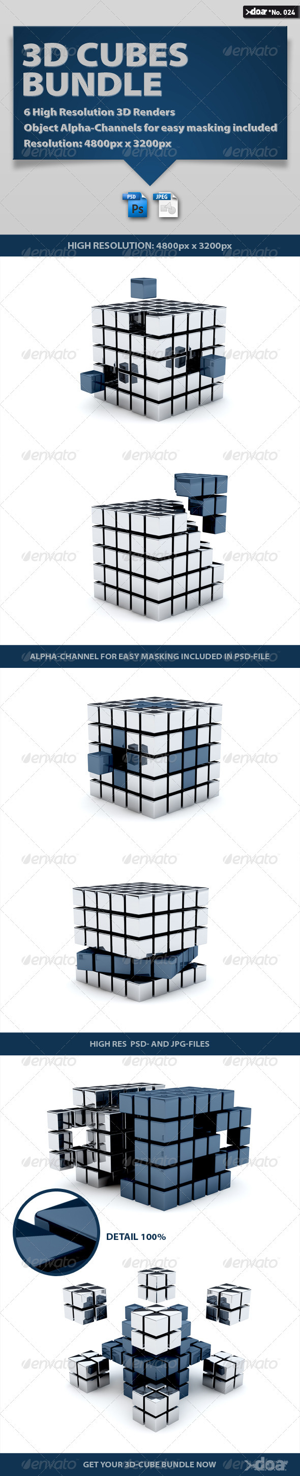 3D Cubes Bundle - 3D Renders Graphics