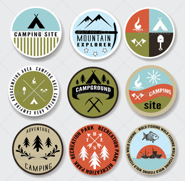 Camping Badges Set - Sports/Activity Conceptual