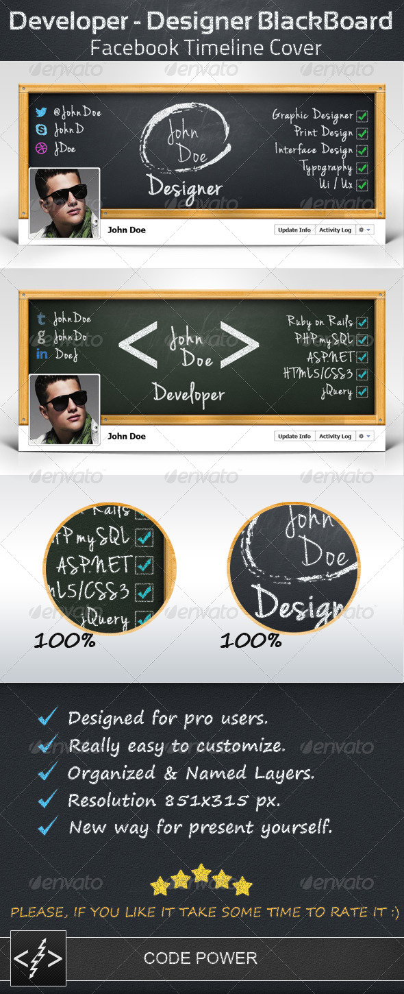 Developer - Designer BlackBoard - FB Cover - Facebook Timeline Covers Social Media