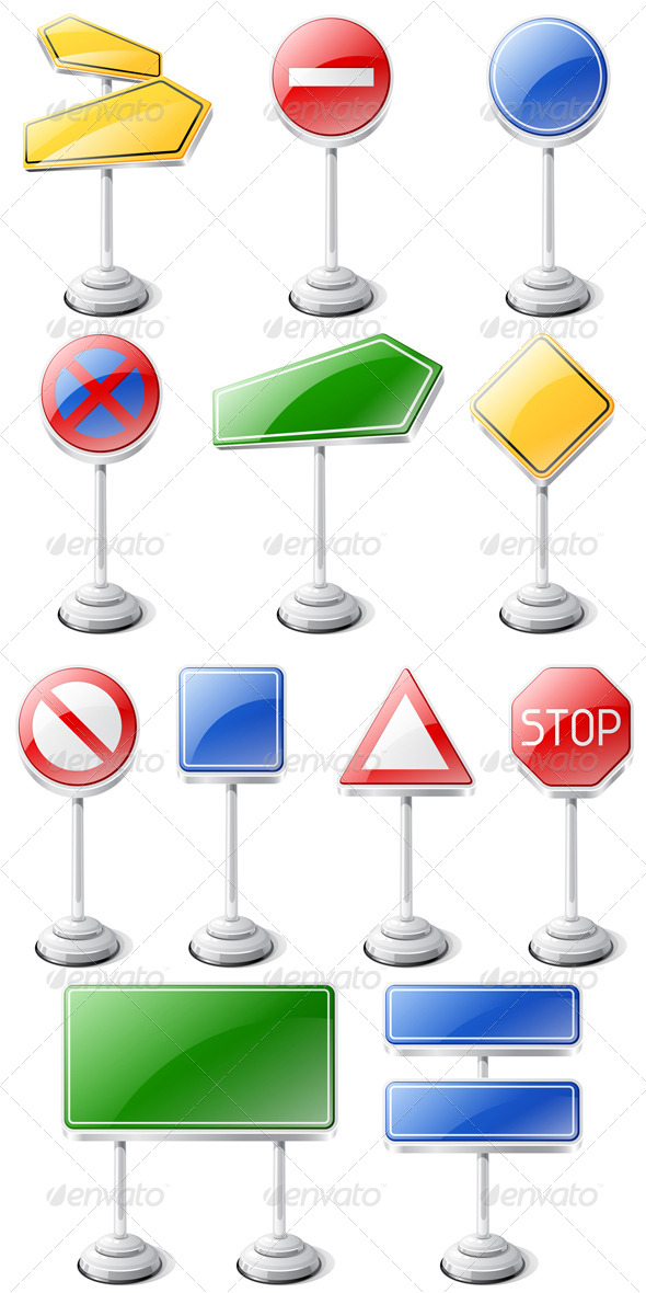 Set of Road Traffic Signs Isolated on White. - Man-made Objects Objects