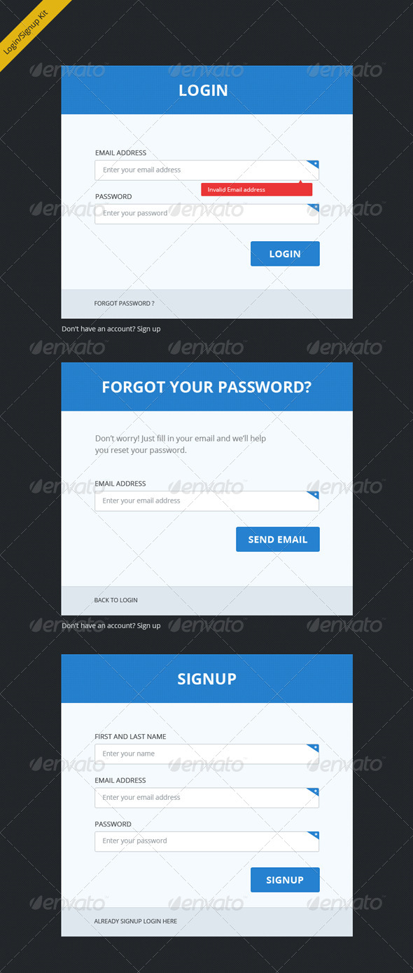 Clean, Clear and Bold Login Signup Forms - Forms Web Elements