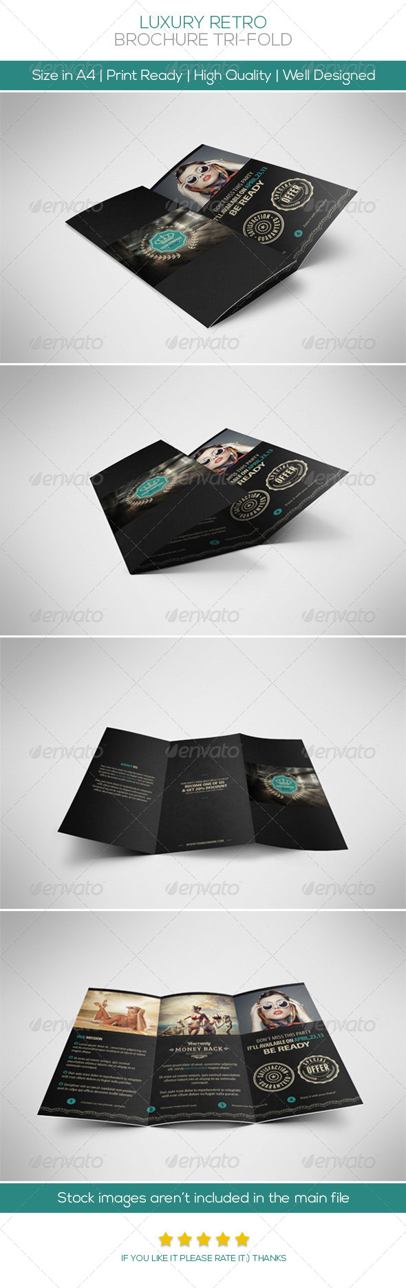 Luxury Retro Brochure Tri-fold - Brochures Print Templates