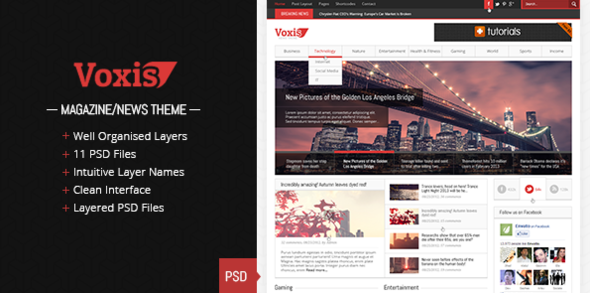 Voxis – Magazine / News PSD template