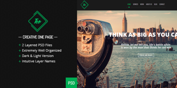 Teo - Single Page PSD Template - Creative PSD Templates