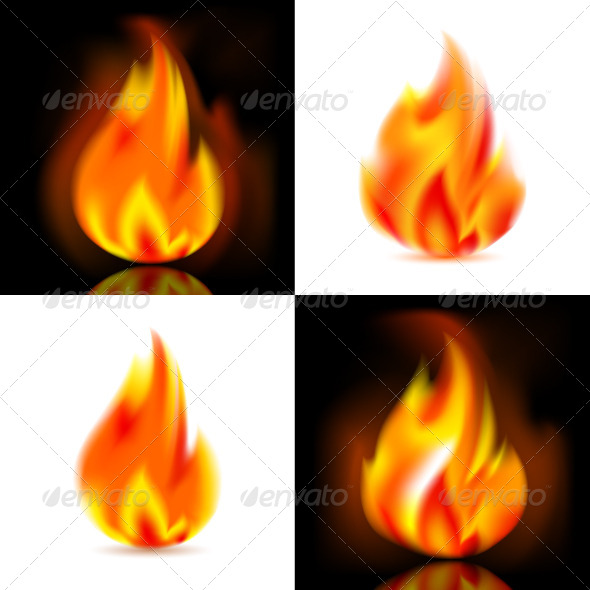 Fire, 4 Vector Flames - Decorative Symbols Decorative