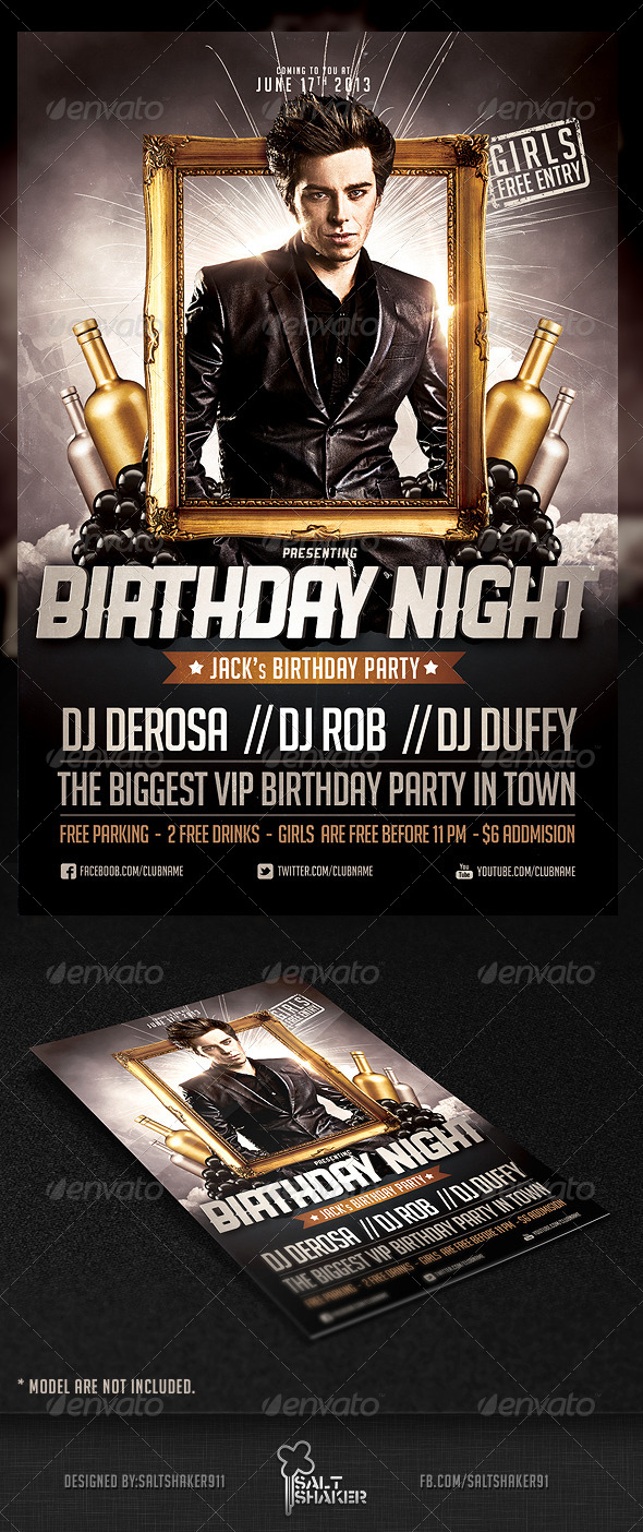 Birthday Night Flyer Template - Clubs & Parties Events