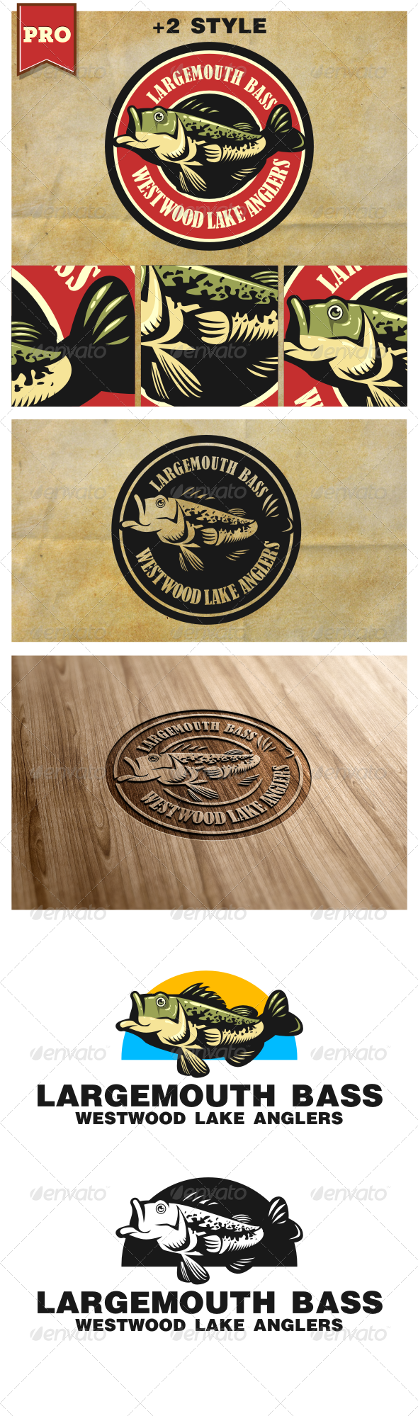 Largemouth Bass Fishing Logo - Animals Logo Templates