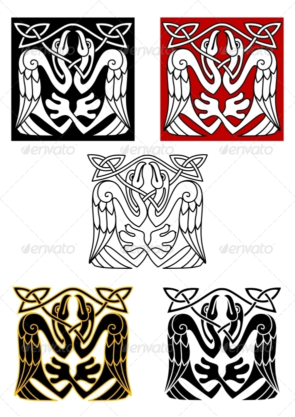 Stork Birds in Celtic Ornament Style - Tattoos Vectors