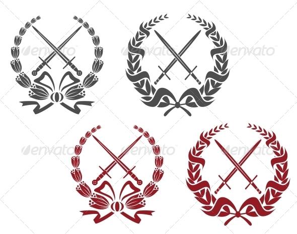 Laurel Wreathes with Weapon Elements - Decorative Symbols Decorative