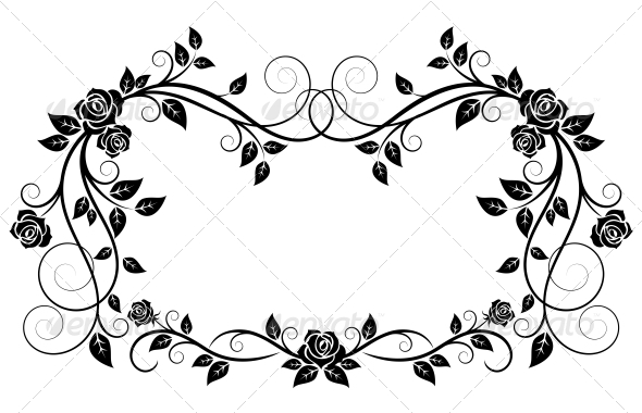 Ornamental Frame with Rose Flowers - Flourishes / Swirls Decorative