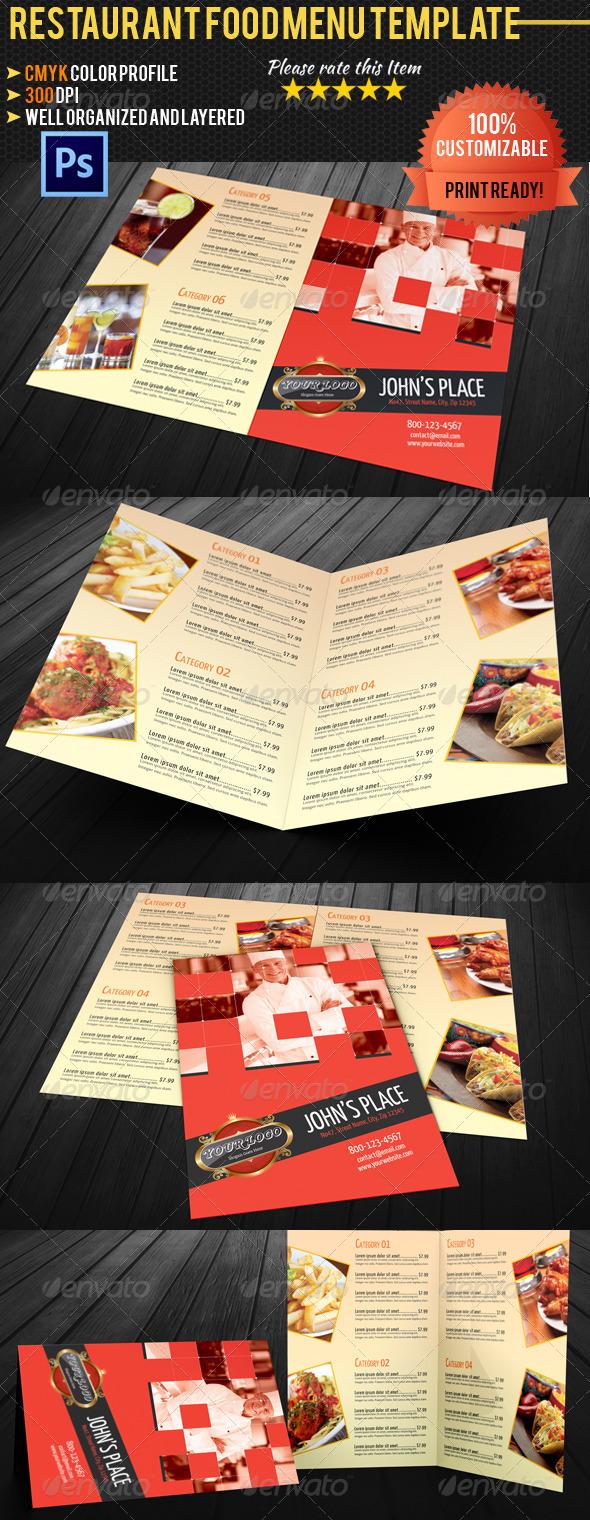 Bi-fold Restaurant Food Menu Template 02 - Food Menus Print Templates