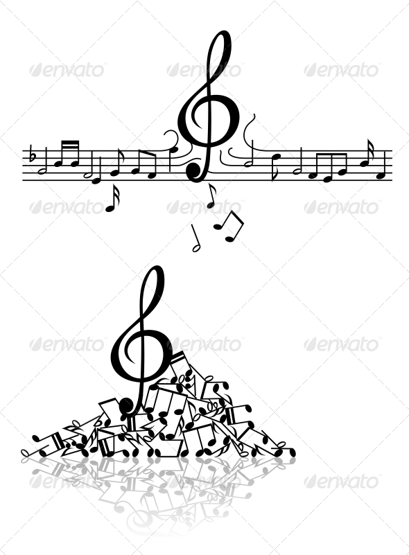 Musical Background with Spoiled N²otes - Miscellaneous Vectors
