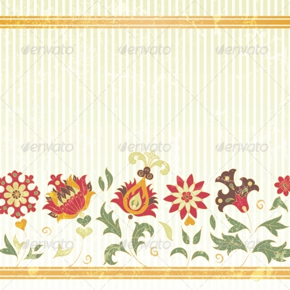 Vector Background with Retro Flowers - Flowers & Plants Nature